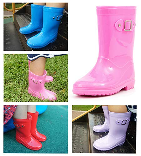 Picture of MOFEVER Toddler Girls Kids Rain Boots Waterproof Shoes Lightweight Solid Cute Lovely Funny Buckle Classic Comfortable (Size 10,Pink)