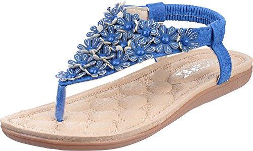 Divaz Britney Ladies Slip On Summer Footwear Floral Open Toe Casual Sandals Blue rPSxOY