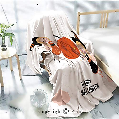 Flannel Printed Blanket for Warm Bedroom,Cute fairy tale holding a pumpkin with cute cats Fairy with happy halloween greeting card Cracked Burning Earth Decorative,One Side Printing,W47.2