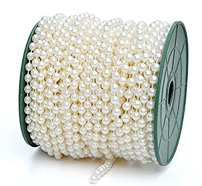 Saitec ® 6mm 82 ft Large Pearls Faux Crystal Beads by the roll - Flowers Wedding Party Decoration