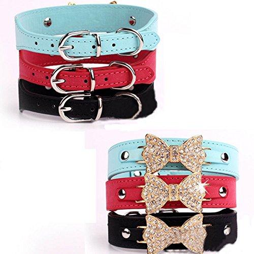 Adjustable Pet Collars Bling Bowknot Leather Collar Rhinestone Bling Collar For Small Medium Dog Cat--Black M