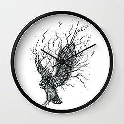 Society6 Forest Owl B+W Wall Clock Black Frame, Black Hands