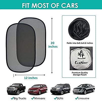 Car Window Sun Shade-2 Pack-Fits Car Truck-80 GSM for Maximum UV protection- Protect Your Child or Pet from UV rays Easy installation without suction cups- Extra large-20x12sunshades SUV