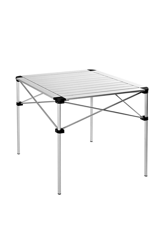 KingCamp Tragbarer, Klapptisch aus Aluminium, sehr leicht und stabil, für 4 Personen, 70 × 70 × 69 cm