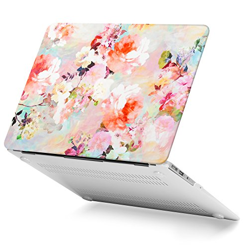 GMYLE Rubber Coated Frosted Plastic Hard Shell Case Cover Print for MacBook Air 13 inch (Model: A1369 & A1466) - Vintage Flower Pattern