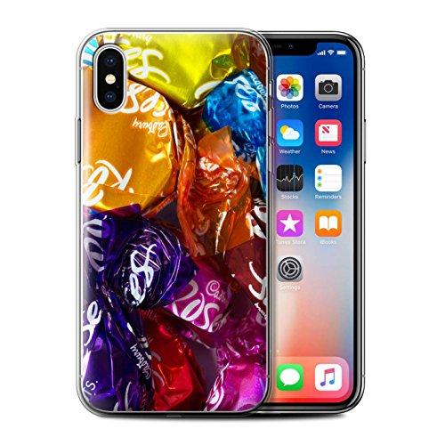 Stuff4 Gel TPU Hülle / Case für Apple iPhone X/10 / Roses Muster / Bonbons/Süßigkeiten Kollektion