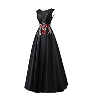 Liaoye Embroidery Floral Satin Prom Dress Long Formal Party Gown Black 2