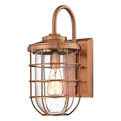 Westinghouse Lighting 6347900 Ferry One-Light Outdoor Wall Fixture, Washed Copper Finish with Clear Seeded Glass, (Outdoor Copper Sconce)