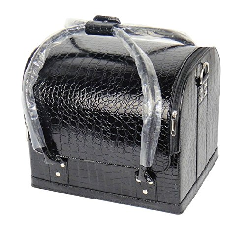 7 Colours PU Leather Beauty Case Cosmetic Makeup Box Vanity Therapist Nail Art (Black Croc)