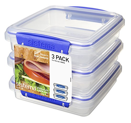 Sistema KLIP IT Collection Sandwich Box Food Storage Container, 15.2 oz./0.4 L, Clear/Blue, 3 Count ()