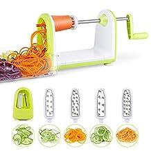 SimpleTaste Spiral Slicer 5 Blade Spiralizer, Best Vegetable Maker, Spiral Slicer and Shredder, Makes Zucchini Noodles, Veggie Spaghetti, Pasta, and Cut Vegetables