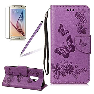 Butterfly Pattern Case For Samsung Galaxy S9, Girlyard Flower Series Embossing PU Leather Wallet Stand Flip Case For Samsung Galaxy S9