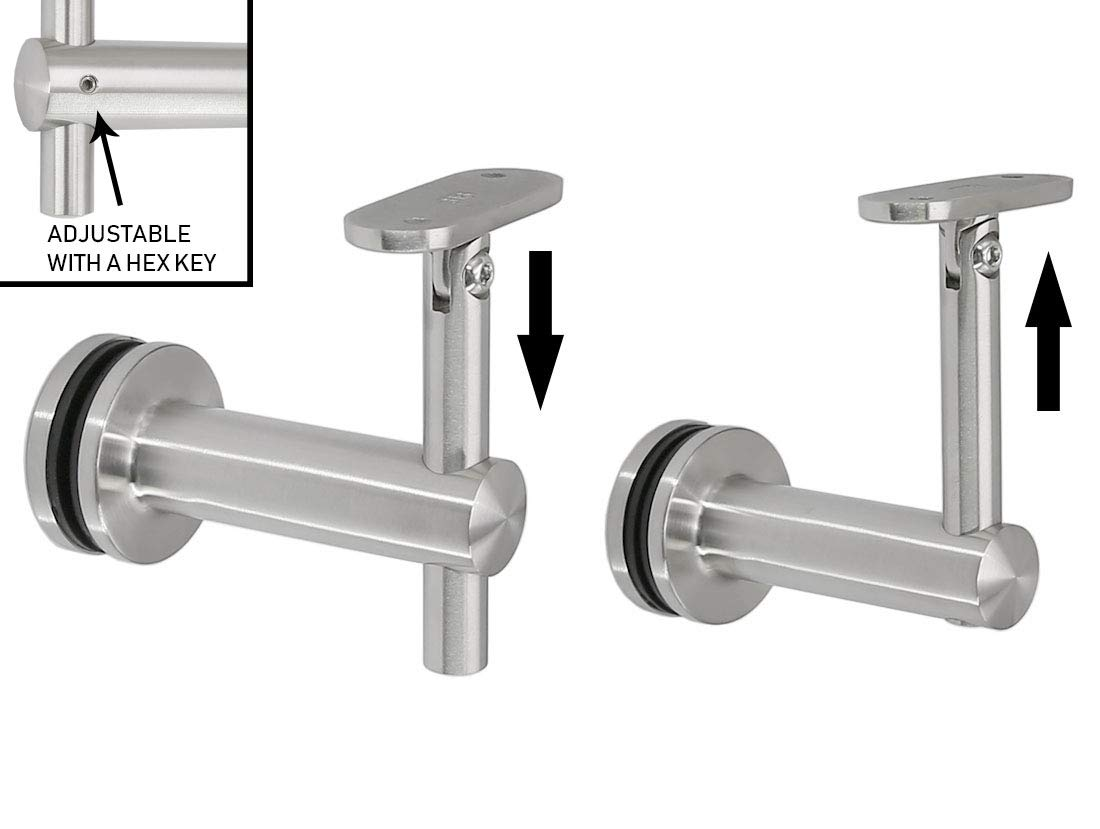 Stainless Steel 316 Grade Glass Railing Adjustable Staircase Handrail Bracket for Square Rectangle Tubing GB-210S, Satin Finish, 2-Pack