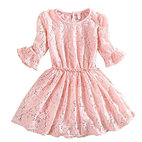 CM-CG Baby Girls' Ruffled 3/4 Sleeve Lace Back Placket Cotton Dress 12-24M