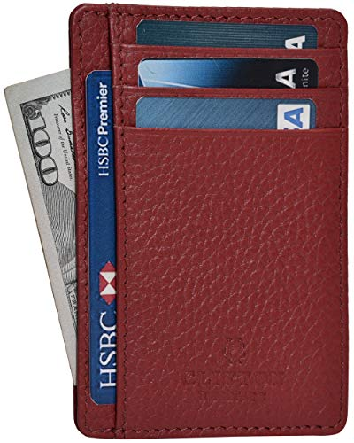 Clifton Heritage Leather Wallets for Men & Women - RFID Blocking Super Slim Minimalist Design (Small, Red Pebble)