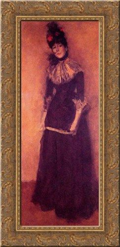 Rose et argent: La Jolie Mutine 15x24 Gold Ornate Wood Framed Canvas Art by Whistler, James Abbott McNeill ()