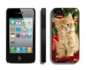 Customization Christmas Cat iPhone 4 4S Case 41 Black