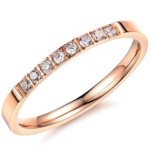 Rose Puzzle Ring (Women 2mm Luxury Titanium Stainless Steel Cubic Zirconia CZ Inlay Rose Gold Ring Wedding Engagement Band Size 6)