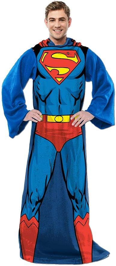DC Comics Superman, Adult Soft Throw Blanket with Sleeves