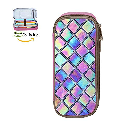 Big Capacity Canvas Pencil Box Holder for Student,Print Dazzle Plaid Pink