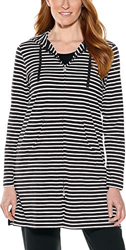 Coolibar UPF 50+ Women's Cabana Hoodie - Sun Protective (Medium- Black/White Stripe)