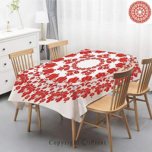 (Printed Pattern Washable Table cloth Dinner Kitchen Home Decor Vintage Flower Decorative Square Linen Tablecloth,55x79 Inch,Red Mandala,Hungarian Round Folk Art Pattern Tulips Traditional Kalocsai Old )
