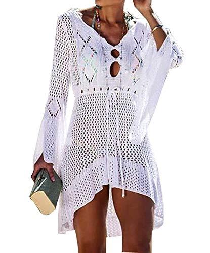 MeiLing Women's Bell Sleeve Swimsuit Crochet Mini Dress High Low Tunic Tops Ruffled Hem Sexy Bathing Suit Cover Ups Swimwear (White) ()