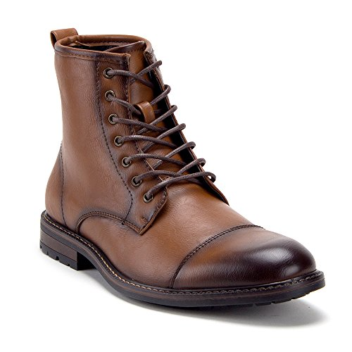 Jazame Men's E-825 Bold Distressed Military Inspired Lace-Up Dress Boots, Cognac, 7.5