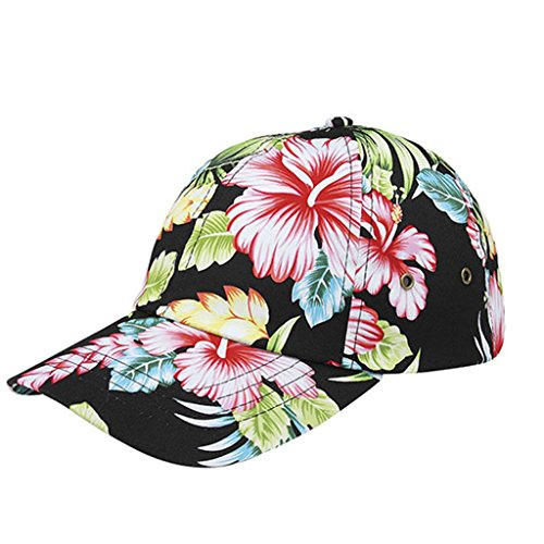 Corona Collection Hibiscus Floral Print Low Profile Baseball Cap Black