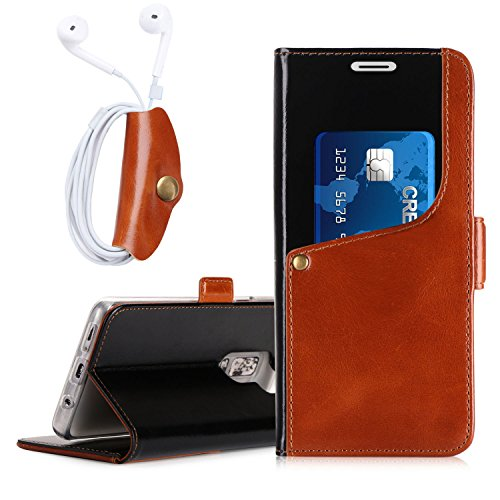 Price comparison product image Galaxy S9 Plus Case, FYY [Luxurious Genuine Cowhide Leather] Wallet Case with [Free Earphone Case] for Samsung Galaxy S9 Plus Black&Brown