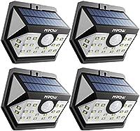 Mpow 20 LED Luz Solar, Súper Brillante Movimiento, Luz de Pared de Seguridad Accionado Solar, Cabeza de Sensor Gran Angular Mejorado de 120°, Impermeable, para Jardín, Garaje, Camino de Entrada, Camino, Patio y Balcón 4 Unidades