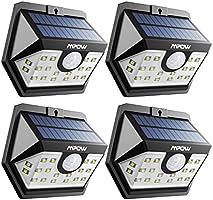 Mpow 20 LED Luz Solar, Foco LED Solar Exterior,Súper Brillante con Sensor de Movimiento con 1 Mode,Lamparas de Jardin Solares,Luz Exterior Solar de Pared de Seguridad Accionado Solar, Cabeza de Sensor Gran Angular Mejorado de 120°, Impermeable, para Jardín, Garaje, Camino de Entrada, Camino, Patio y Balcón 4 Unidades