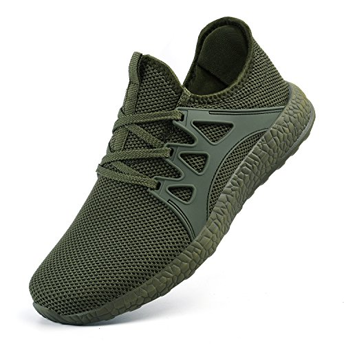 Leather Mesh Sneakers - MARSVOVO Womens Sneakers Ultra Lightweight Breathable Mesh Walking Gym Tennis Athletic Running Shoes Green Size 6
