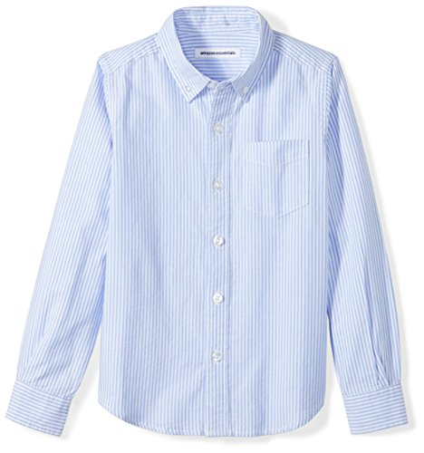 Amazon Essentials Little Boys' Long-Sleeve Uniform Oxford Shirt, Blue/White Stripe, S -