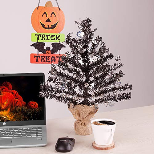 Joy-Leo 1 Foot Pop-up Black Skull Tinsel Tree for Halloween Decoration with Burlap Stand, Tabletop Halloween Christmas Tree with Skull Cut Out Sequins]()