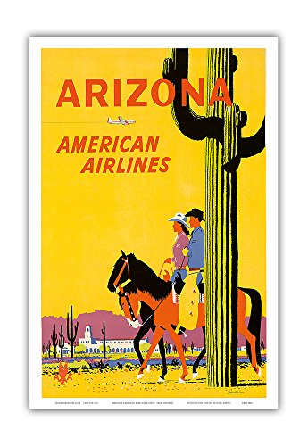 Arizona - American Airlines - Riders on Horseback - Saguaro Cactus, State Flower of Arizona - Vintage Airline Travel Poster by Fred Ludekens c.1960s - Master Art Print - 12in x 18in - 1960 Poster Print