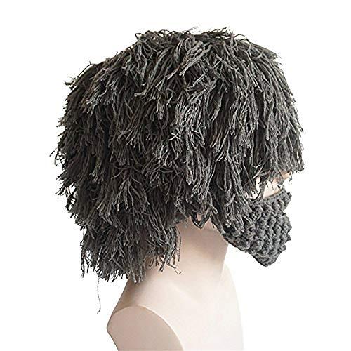 De Gray De Lana De De Beanie Sombrero Invierno HSRG Divertido Barba De Sombrero Peluca La Máscara La Bárbara Punto De Facial z10q4nS