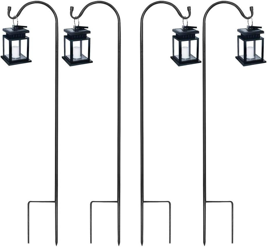 MIXXIDEA Shepherd's Hooks for Outdoor, Metal pole with Hook, Heavy Duty Garden Shepherd Hooks for Hanging Wedding Flower Baskets, Solar Lights, Lanterns, Bird Feeders Rust Resistant (36.5inch, 4 Pack)