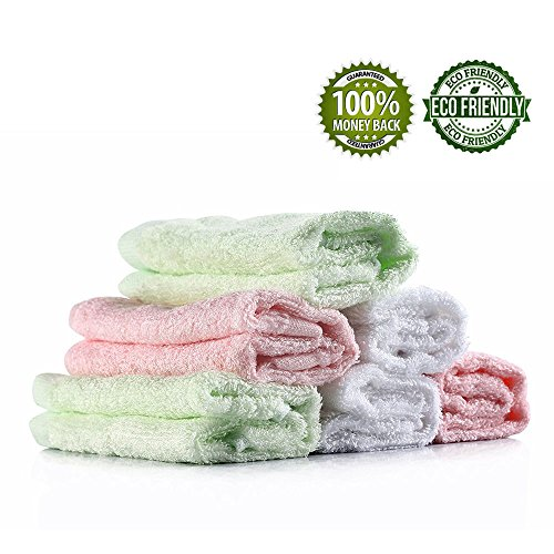 Baby Washcloths Wash Towels Infant Bamboo Towels Organic Set 6 Pack 10x10 Inches Feibi