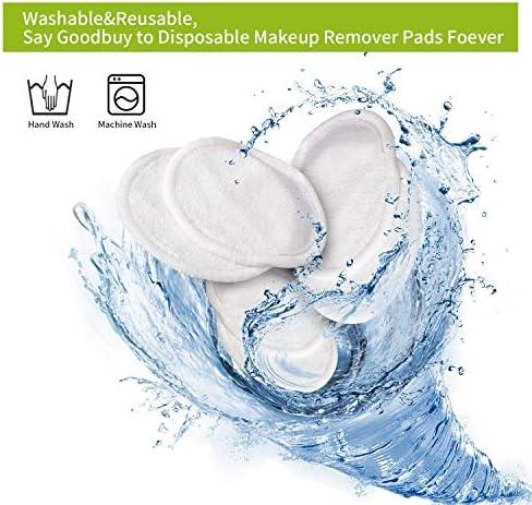 Almohadillas reutilizables para eliminar maquillaje, 16 unidades, almohadilla de algodón de bambú lavable con bolsa de lavandería (3.15 pulgadas): Amazon.es: Hogar