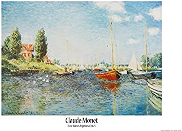 "CLAUDE MONET Red Boats Argenteuil Canvas Print Poster 36/"" X 24/"""