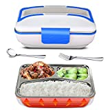 YOUDirect Electric Heating Lunch Box - Portable Bento Meal Heater Food Warmer Stainless Steel Plug Heating Food Container Leak-Resistant Reusable Electronic Food Boxes for Home Office Use 110V (Blue)