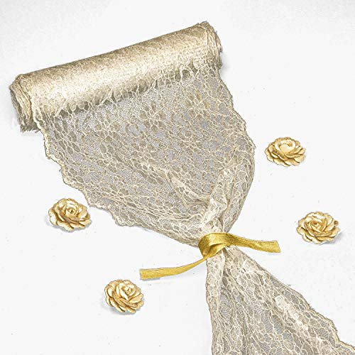 12-inch X 16 Yards Embroidered Lace Table Runner by Feminen | Boho Vintage Classy Table Runner Design ● Durable Restaurants Hotel and Wedding Receptions Décor ● Bonus: 4 Flowers & 2 Ribbons -Soft Gold
