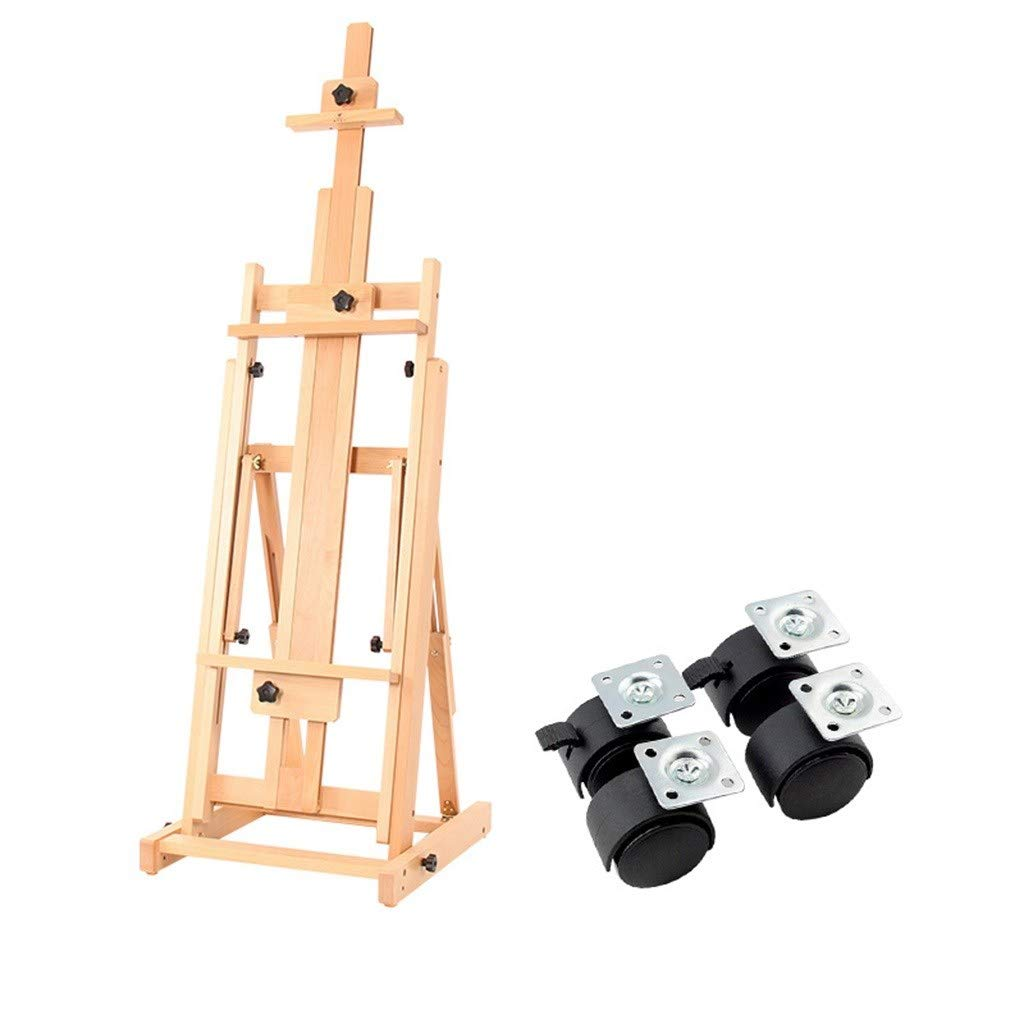 LING AI DA MAI Adjustable Mobile Wood Floor Easel, high-Grade Beech Wood Easel, Height-Adjustable Oversized H-Frame with Large tilt Range. Casters can be Easily Moved and Locked in Place by Furniture feet-DA