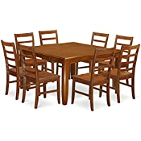 East West Furniture PARF9-SBR-W 9-Piece Dining Table Set