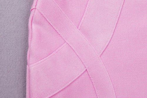 da bandgae Pink donna 2 per schiena con collo Whoinshop V bodycon a feste wIzxCq