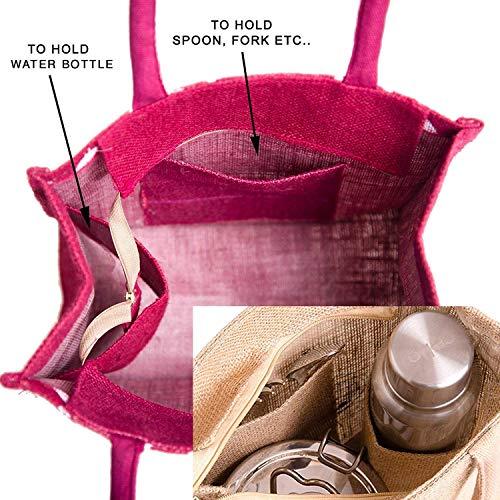 H&B Jute bags for lunch for men | Jute bags with zip | Jute Tote Bag | Jute Tiffin Bags | Printed Jute Bag | jute carry bag | Jute bag medium size (Print: Love Grass, Maroon, Size:11x10x6 Inch)