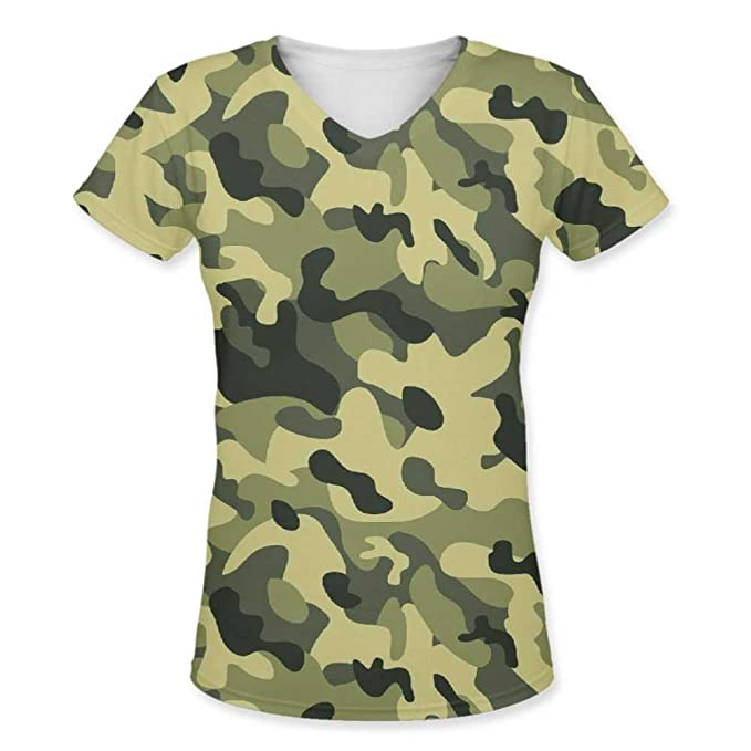 a29c5ee3e2351e Snoogg Camo Green Military 2764 Womens Casual V-Neck All Over Printed T  Shirts Tees: Amazon.in: Clothing & Accessories