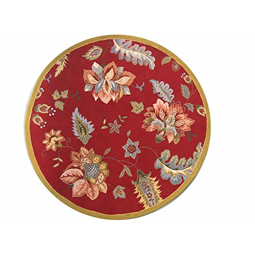 Safavieh Chelsea Collection HK306C Hand-Hooked Red Premium Wool Round Area Rug (4' - Hand Round Hooked Wool