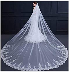 AIBIYI Cathedral Wedding Veil Sequins Lace Long Bridal Veil with Comb ABY-V44